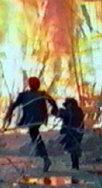 Mylène et Adil s'enfuyant devant le décor de l'unsine en flammes